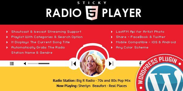 Sticky Full Width Radio Player WordPress Plugin